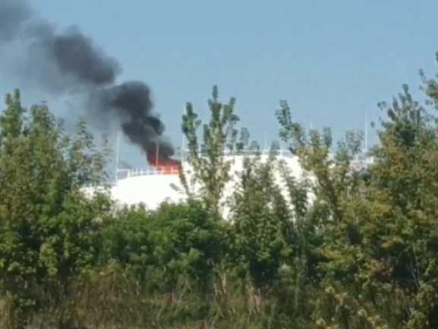 Представительство ДНР в СЦКК опубликовало видео с места взрыва на нефтебазе в Донецке