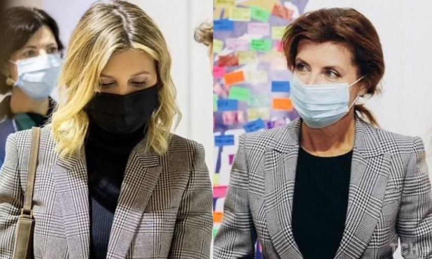 Елена Зеленская и Марина Порошенко появились на публике в похожих клетчатых жакетах (ФОТО)